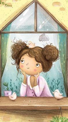 Pretty Drawings, Art Drawings For Kids, Art For Kids, Cute Cartoon Girl, Cartoon Art, Children's Book Illustration, Character Illustration, Copic Drawings, Digital Art Girl