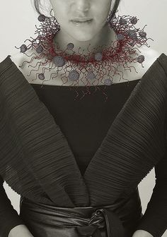Necklace - sterling silver, otchil (korean traditional lacquer) sowon joo studio