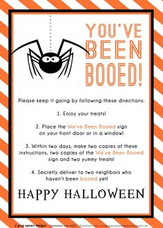 I miss doing this during October with my Neighbors in Georgia. By: Grey Square Designs: You've Been Booed--Free Printable