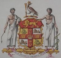 Detail of the College of Arms record of the grant of arms, crest, and supporters to the Royal College of Surgeons in 1822