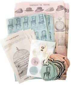Petite parcel set French ephemera Cavallini - Postpapier enzo