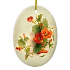 Orange Indian Cress Christmas Ornament. Motif taken from a vintage postcard