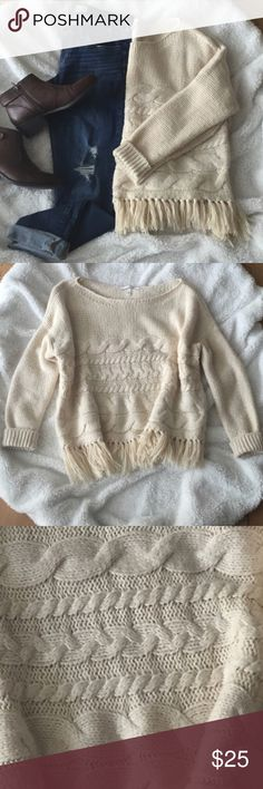 VS Fringe Sweater Preloved but a ton of life left - this could fit an XL too. Cute, warm, and comfy! Perfect with jeans, leggings, and booties. PINK Victoria's Secret Sweaters Crew & Scoop Necks