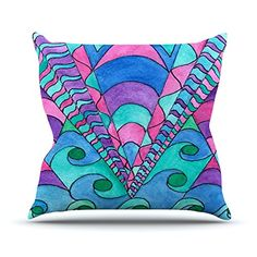 KESS InHouse RB1035AOP03 18 x 18-Inch 'Rosie Brown Gatsby Inspired Blue Pink' Outdoor Throw Cushion - Multi-Colour -- Want to know more, click on the image. #GardenFurnitureandAccessories