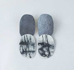 Christy Klug,  Opalescent enamel,hand textured oxidized silver. Saw these at Craft2Wear