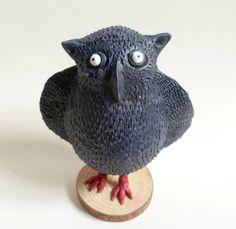 Black Owl Sculpture - Owl Figurine, Fat Bird Design, Folk Art Collectable Owl, Bookshelf Art Object, Owl Ornament, Owl Decor by AlanJamesdesigns on Etsy