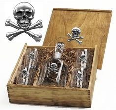 Skull & Crossbones Capitol Decanter Boxed Set with Pewter Emblems