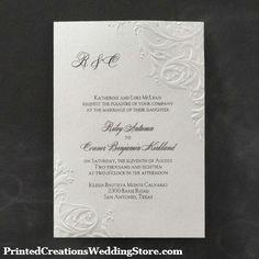 This So Romantic wedding invitation elegantly features romantic flourishes.  Choose your ink color for a custom look.  www.PrintedCreationsWeddingStore.com    #elegantweddinginvitations