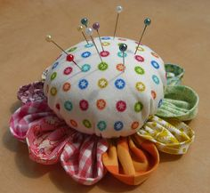 Scrappy Pincushion - Plan C by flossyblossy, via Flickr