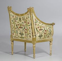 date unspecified SMALL SUITE OF FURNITURE, late Louis XVI, France, 18th/19th century. Comprising 1 two-seater canape and 1 pair of small bergeres. Fluted and finely carved gilt beech. Fine silk cover with stylized leaves and decorative frieze. Seat cushion. Canape 110x70x45x96 cm. Bergeres 80x55x45x90 cm. CHF 10 000 / 15 000 € 8 330 / 12 500 Sold for CHF 10 000 (hammer price)