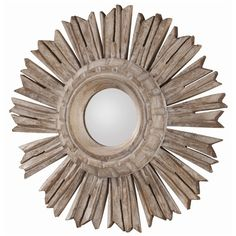 Hand carved solid wood starburst mirror.