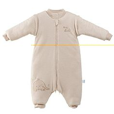 Colored Cotton Baby Zip Front Sleeping Bag Split Sleeve Sleepsack with Feet - $