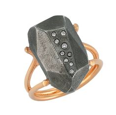 Rock Ring rocks!! This stylish ring will rock you..  8K Rose Gold Ring with matte silver top, silver top filled with white and brown diamonds on.