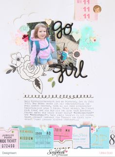 Layout 'Go girl' - Maggie Holmes/Crate Paper 'Carousel' - Ulrike Dold Paper Bag Scrapbook, Scrapbook Journal, Baby Scrapbook, Scrapbook Cards, Project Life, Scrapbooking Layouts, Digital Scrapbooking, Kindergarten, How To Make A Paper Bag