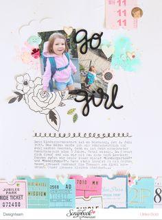 Layout 'Go girl' - Maggie Holmes/Crate Paper 'Carousel' - Ulrike Dold Paper Bag Scrapbook, Baby Scrapbook, Scrapbook Cards, Project Life, Scrapbooking Layouts, Digital Scrapbooking, Kindergarten, How To Make A Paper Bag, Baby Memories
