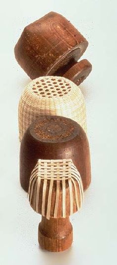 The Hancock Shaker Village wooden basket forms Bamboo Art, Bamboo Crafts, Willow Weaving, Basket Weaving, Wooden Basket, Bamboo Basket, Wicker Baskets, Shaker Furniture, Wooden Furniture