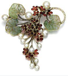 Gem set diamond brooch/pendant. Designed as a cascade of flowers, set with plique-à-jour enamel, accented with cultured pearls, single-cut and rose diamonds. Art Nouveau or Art Nouveau style.