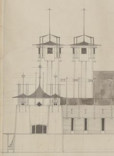 Colour photograph of design for Industrial Hall for 1901 Glasgow International Exhibition Architecture Drawings, Interior Architecture, Interior Design, Architectural Sketches, Architectural Elements, Mackintosh Design, Art Nouveau Poster, Vienna Secession, Charles Rennie Mackintosh