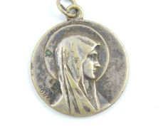 LARGE Vintage French Our Lady of Lourdes Catholic Medal - Virgin Mary Scapular - OBC Religious Charm by LuxMeaChristus on Etsy