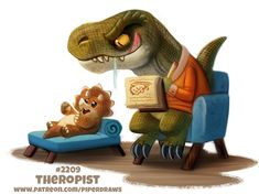 Daily Paint Theropist by Cryptid-Creations on DeviantArt Cute Animal Drawings Kawaii, Kawaii Drawings, Cartoon Drawings, Cute Drawings, Animal Puns, Animal Food, Cute Fantasy Creatures, Animal Doodles, Cute Chibi