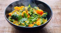 Zoete aardappel curry met spinazie volgens de principes van PN