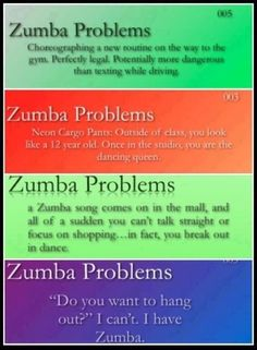 Zumba Problems. Yeah the whole making up dances in the car thing is totally true!!