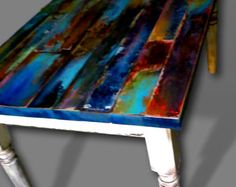 colorfully painted patina reclaimed wood coffee by trashstudio