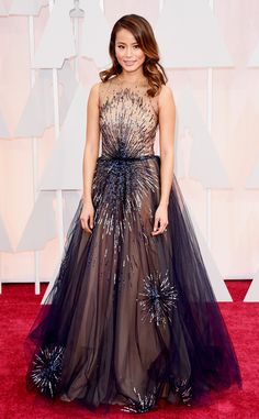2015 Oscar Jamie Chung Celebrity Dresses With Hand Sequines Sheer Tolle Neck Red Carpet Gowns A-Line Vestidos de la celebridad Jamie Chung, Alexa Chung, Celebrity Red Carpet, Celebrity Look, Celebrity Dresses, Celebrity Photos, Celebrity News, Robes D'oscar, Vestidos Oscar
