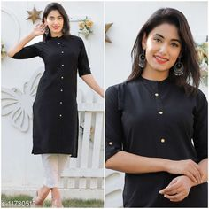 Checkout this latest Kurtis Product Name: *Women's Black Solid Cotton Cambric Kurti* Fabric: Cotton Cambric Sleeve Length: Three-Quarter Sleeves Pattern: Solid Combo of: Single Sizes: L Country of Origin: India Easy Returns Available In Case Of Any Issue   Catalog Rating: ★3.9 (314)  Catalog Name: Women Cotton Cambric Straight Solid Mustard Kurti CatalogID_2219414 C74-SC1001 Code: 152-11730517-255