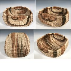 Kari Lonning- Rib construction basket woven with akebia vines. (The white is the vine debarked, all other colors are shades of the bark.)