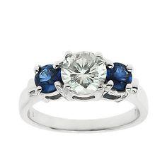 3 Stone 1.00CT Round Diamond  Blue Sapphire  by GetDiamondsDirect, $975.00