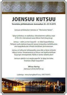 Zonta.fi - Jäsenille / Piirikokous Joensuu 24.-25.10.2015 Viria, Finland, Hong Kong, Conference, Periodic Table, Periodic Table Chart, Periotic Table