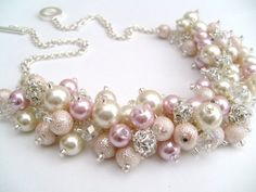 Blush Pink and Ivory Pearl and Rhinestone Beaded by KIMMSMITH, $28.00