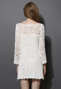 Mesh Knit Crochet White Dress