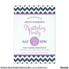 Modern Navy Purple Chevron Birthday Party 5x7 Paper Invitation Card