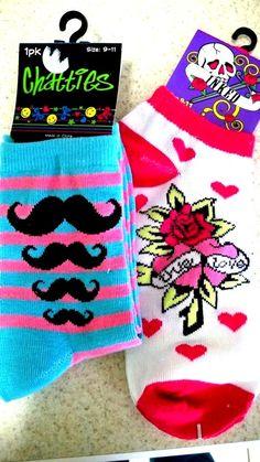 NWT Striped Mustache or Heart Rose Love Tattoo Print Womans Socks Sz 9-11  #Chatties #AnkleHigh