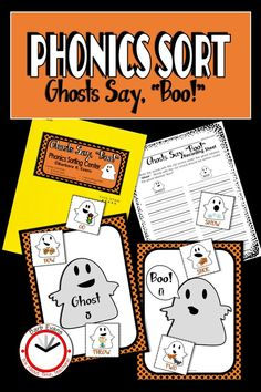 Your primary students will sort the word/picture cards by the sound of the vowel or vowel digraph and have fun doing it. #phonicssort #Halloweenactivity #vowels #voweldigraphs #literacycenter #phonics #primaryliteracy