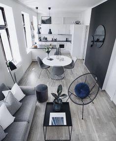 Small Apartment Interior, Design Apartment, Small Apartment Decorating, Apartment Ideas, Tiny Living Rooms, Living Room Designs, Living Room Decor, Pine Wood Flooring, Concrete Floors