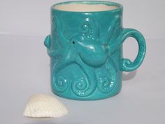 Teal Octopus Squid Tentacles Mug Handmade Ceramic from my Charleston, SC Studio - pinned by pin4etsy.com