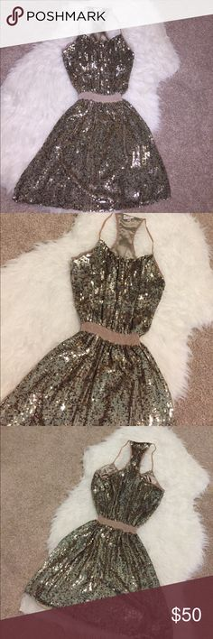 Parker Dress Like new worn twice and cleaned, no flaws or missing sequence. Way prettier in person than even in the pictures.. the material is a thick kind of heavy sequence, I don't have any pics but when it's on it looks so rich looking. Parker Dresses