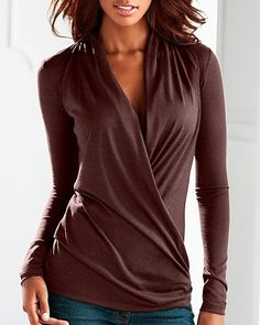Casual V-Neck Long Sleeve Solid Color Ruched T-Shirt For Women