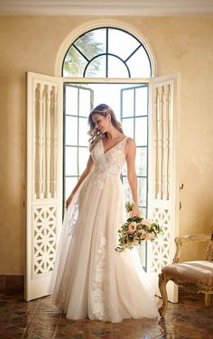 **Stella York, 7126, Iv/Mus/Honey, Sz 20, $1298. Available at Debra's Bridal Jacksonville, FL 32256 Contact us to make an appointment (904) 519-9900 Lace Wedding Dress, Tulle Wedding, Best Wedding Dresses, Designer Wedding Dresses, Wedding Gowns, Wedding App, Dream Wedding, Bride Dresses, Wedding Bells