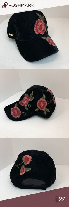 Steve Madden Embroidered Flower Velvet Cap Steve Madden adorable velvet hat with red embroidered floral designs. Pink and red flowers with green leaves on a black cap.  Condition: New with tags. Steve Madden Accessories Hats
