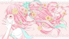 Flowered pink hair ribbons pretty bow anime HD Wallpaper