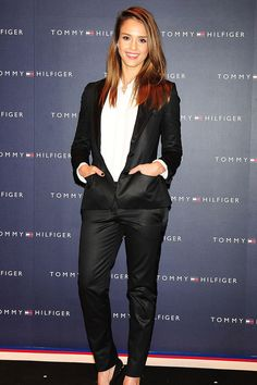 Jessica Alba attends the Tommy Hilfiger Omotesando Flagship Store opening on April 16, 2012 in Tokyo, Japan in a Tommy Hilfiger suit