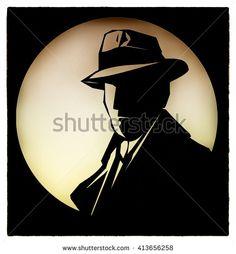 Silhouette of  detective cartoon style - stock photo