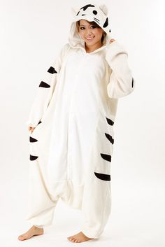 How cool are these are these animal onesies? :)White tiger adult onesie pajamas