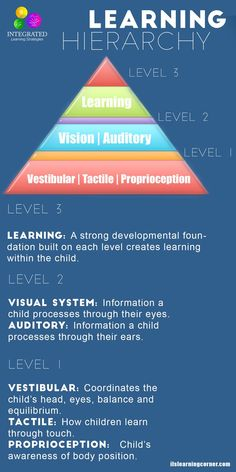 Sensory Systems that Make up the Learning Hierarchy of a Strong Academic Foundation - Integrated Learning Strategies Sensory Activities, Learning Activities, Infant Activities, Sensory Diet, Sensory Issues, Sensory Play, Learning Tips, Learning Styles, Learning Theory
