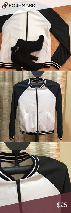 Express white and black zip up Black and white zip up with pleather mesh sleeves. UEC - looks brand new. So sharp! Express Jackets & Coats