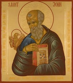 Saint John - Icons of the Four Evangelists Religious Images, Religious Icons, Religious Art, Byzantine Icons, Byzantine Art, Saint Matthew, Saint John, St John The Evangelist, Paint Icon